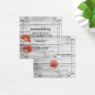 Rustic White Wood Poppy Flowers Wedding Hotel Square Business Card