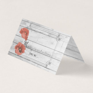Rustic White Wood Poppy Flowers Wedding Table No. Business Card