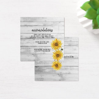 Rustic White Wood Sunflowers Wedding Hotel Square Business Card