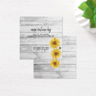 Rustic White Wood Sunflowers Wedding RSVP Card