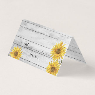 Rustic White Wood Sunflowers Wedding Table No. Business Card