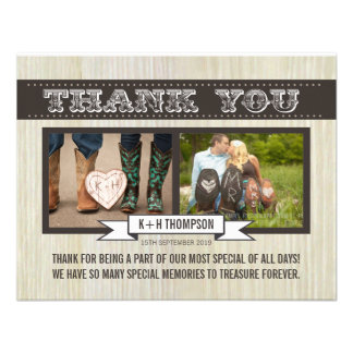Rustic White Wood Wedding Thank You Photo Cards