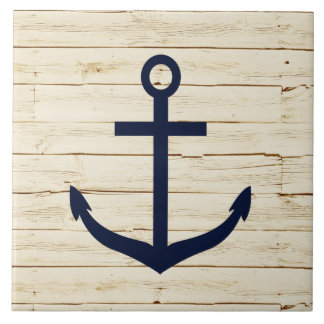 Rustic White Wood with Anchor Large Square Tile