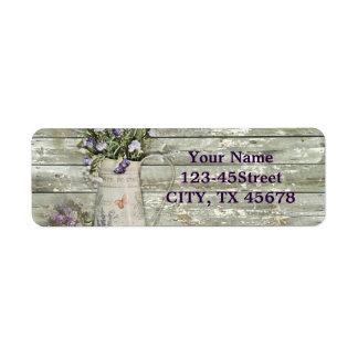 rustic whitewashed wood farmhouse lavender return address label