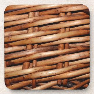 Rustic Wicker Basket Weave Beverage Coasters