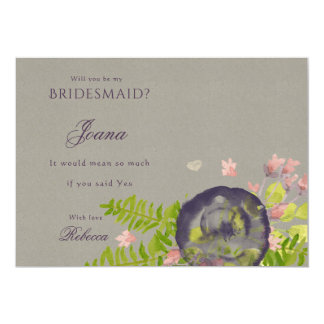RUSTIC WILD FLOWERS & FERNS Bridesmaid Card