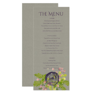 RUSTIC WILD FLOWERS & FERNS MENU CARD