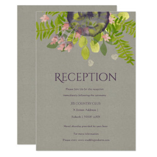 RUSTIC WILD FLOWERS & FERNS Reception Card