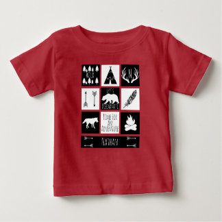 Rustic Wilderness Animals & Baby Name Baby T-Shirt
