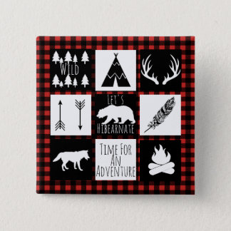 Rustic Wilderness & Animals Buffalo Check Plaid 15 Cm Square Badge