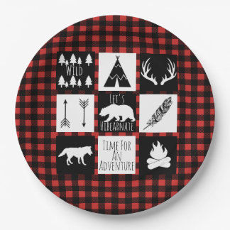 Rustic Wilderness & Animals Buffalo Check Plaid Paper Plate