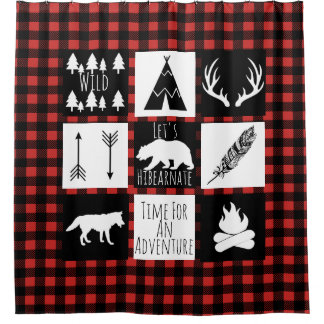 Rustic Wilderness & Animals Buffalo Check Plaid Shower Curtain