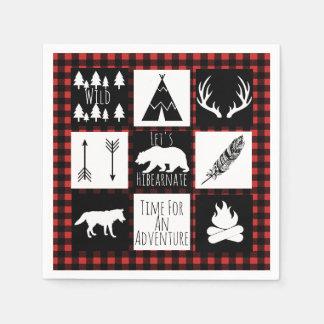 Rustic Wilderness & Animals Lumberjack Plaid Disposable Napkin
