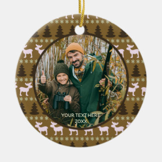 Rustic Wilderness, Brown, Two Photo, Two Sided Ceramic Ornament
