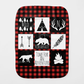 Rustic Wilderness Buffalo Check Plaid & Initial Burp Cloth