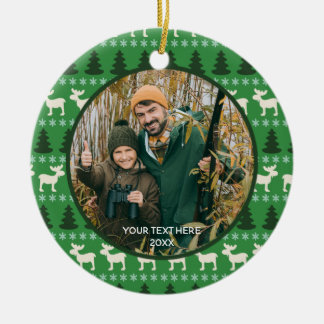 Rustic Wilderness Two Photo, Two Sided Ceramic Ornament