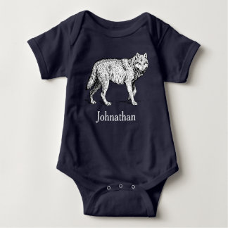 Rustic Wilderness Wolf & Baby's Name Baby Bodysuit