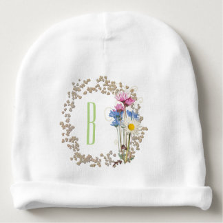 Rustic Wildflower Nosegay Frame Personalized Baby Beanie