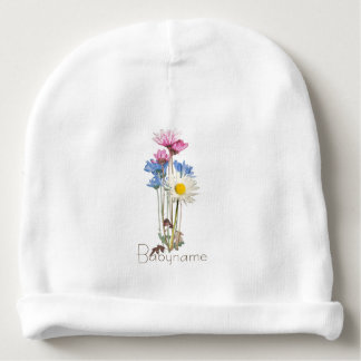 Rustic Wildflower Nosegay Personalized Baby Beanie