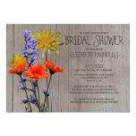 Rustic Wildflowers Bridal Shower Invitations Announcement