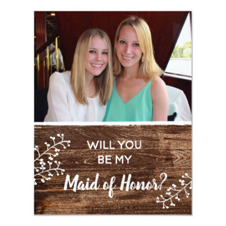 Rustic | Will You Be My Maid of Honor Photo Card