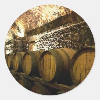 Rustic Wine Cellar in Brown Tones Round Sticker