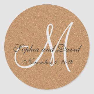 Rustic Wine Cork Wedding Monogram Classic Round Sticker