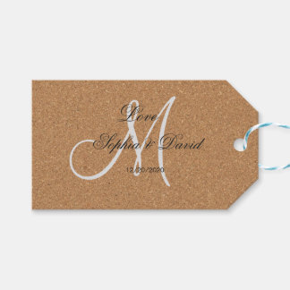 Rustic Wine Cork Wedding Monogram Gift Tags