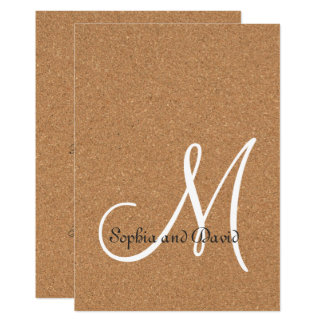 Rustic Wine Cork Wedding Monogram Invitation