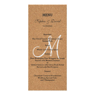 Rustic Wine Cork Wedding Monogram Menu