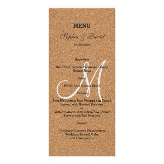 Rustic Wine Cork Wedding Monogram Menu Rack Card