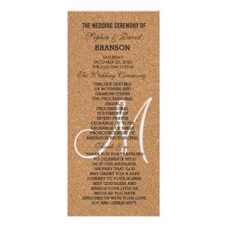 Rustic Wine Cork Wedding Monogram Program Full Colour Rack Card