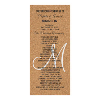 Rustic Wine Cork Wedding Monogram Program Rack Card