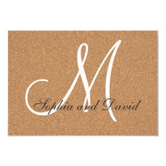 Rustic Wine Cork Wedding Monogram RSVP Card