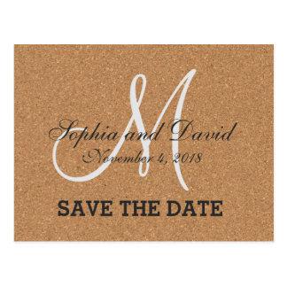 Rustic Wine Cork Wedding Monogram SAVE THE DATE Postcard