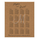 Rustic Wine Cork Wedding Monogram Seating Chart 16
