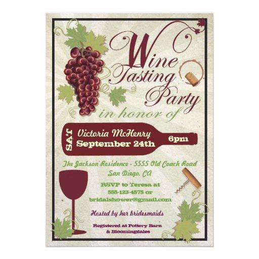 Rustic Wine Tasting Party Invitations