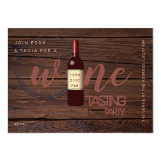 Rustic Wine Tasting Party Invitations Glass Stains