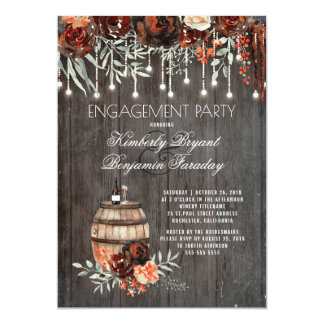 Rustic Winery Floral Lights Engagement Party Card