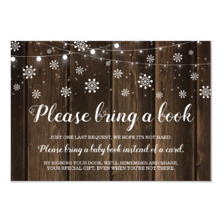 Rustic Winter Baby Shower Bring a Book Card