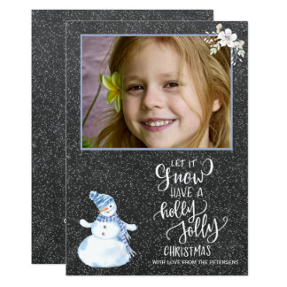 Rustic winter blue white chalkboard snowman photo card