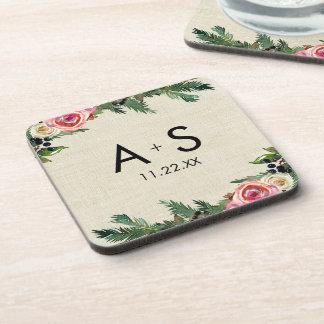 Rustic Winter Burlap Pine Rose Wedding Monogram Coaster
