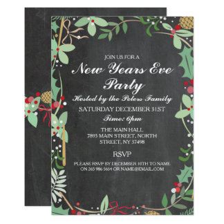 Rustic Winter Chalk Berry New Years Day Eve Invite