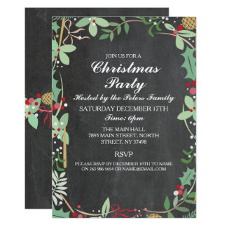 Rustic Winter Chalk Foliage Christmas Party Invite