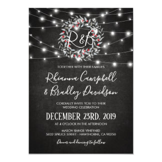Rustic Winter Christmas Wreath Lights Wedding Card