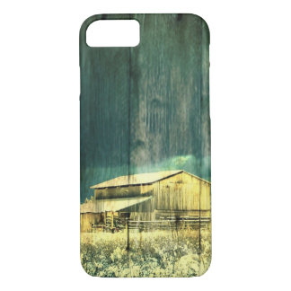 Rustic winter evergreen old barnwood cottage cabin iPhone 8/7 case