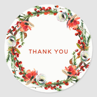 Rustic Winter Floral Berries Wreath Modern Favor Classic Round Sticker