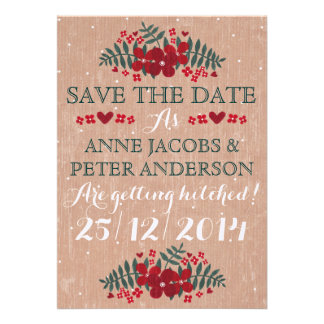 Rustic Winter Floral Wedding Save The Date Card