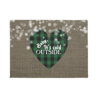 Rustic Winter Holiday Baby It's Cold Outside Doormat