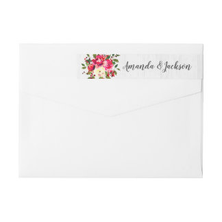 Rustic Winter Holly Floral White Wood Wedding Wrap Around Label